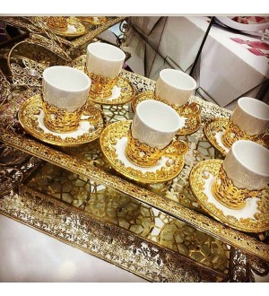 6 Kisilik Gold Kaplama Fincan Set